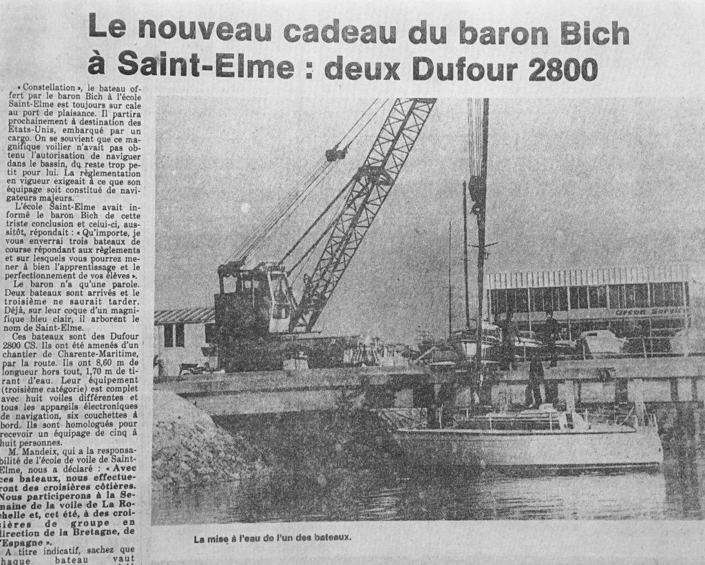 Mise à l'eau des Dufour offert par le Baron Bich au lycée Saint Elme, Journal SO