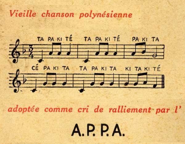 """L' """"Hymne des Pacifics"""",  adopté par l'Association des Propriétaires de Pacifics d'Arcachon (A.P.P.A.). Extrait de leonc.fr"""