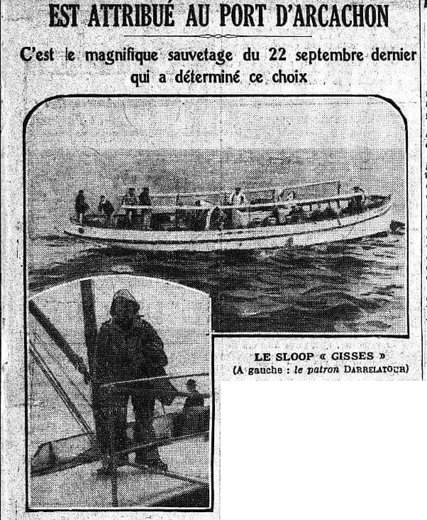 Mémorial du Matin attribué à au port d'Arcachon le 17 mai 1925