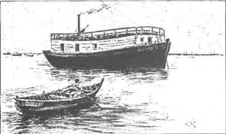 Un ponton de garde au milieu du Bassin d'Arcachon, Gravure de 1892