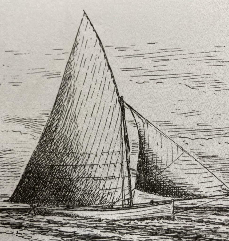 """Baleinière d'Arcachon dessinée par Monsieur Sahuqué, voilure différente de """"Epreuve"""""""