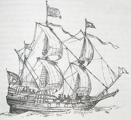 Représentation du Arka Noego, une pinasse utilisée comme navire de guerre à partir de 1625.