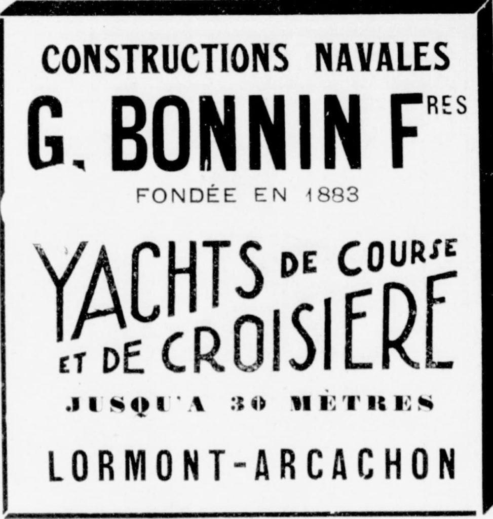 Publicité du chantier naval Bonnin en 1898